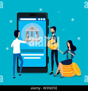businesswoman and businessmen teamwork with smartphone and coins - Stock Image