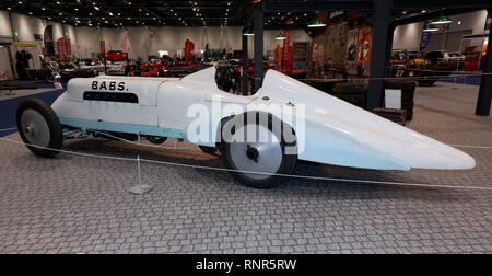 Side view of BABS, a land speed record car at the 2019 London Classic Car Show, in a special 'The need For Speed', display curated by Edd China. - Stock Image