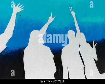 Silhouettes in white and blue - Stock Image
