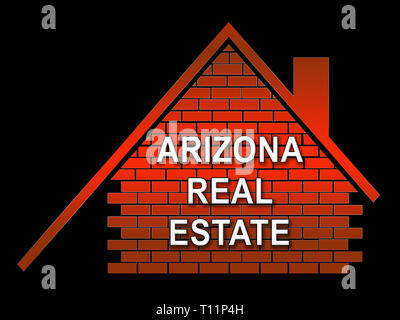Arizona Real Estate Icon Shows Southwestern Property Or Broker In The Usa 3d Illustration - Stock Image