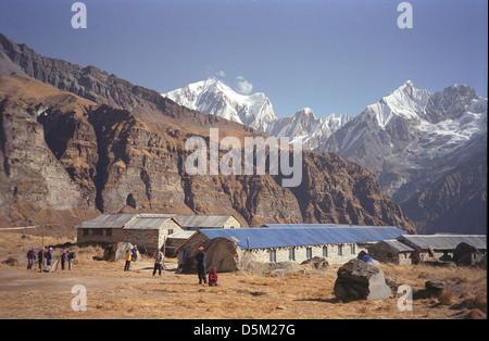 Guest Houses at Annapurna Base Camp with Gangapurna 7455 metres and Annapurna III 7555 metres Nepal Himalayas - Stock Image