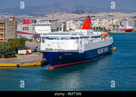 Hellenic Seaways car and passenger ferry Hellenic Samos moored in port of Piraeus Athens Greece Europe - Stock Image
