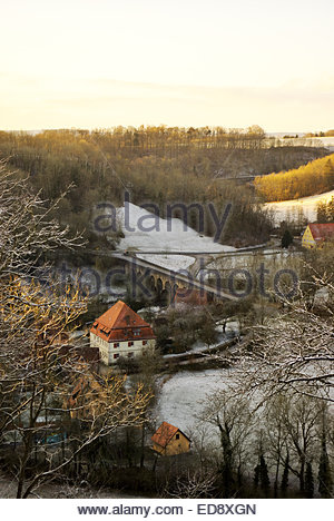 Taubertal village scene below Rothenburg ob der Tauber in Bavaria. - Stock Image