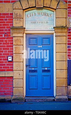 City Works Door Entrance, Sheffield, England - Stock Image