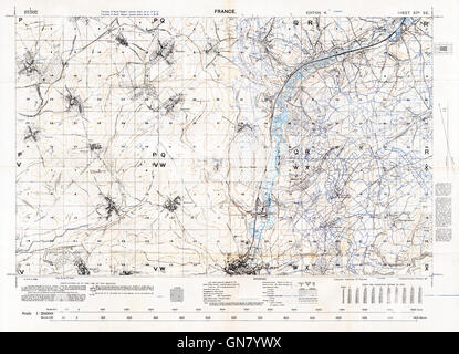 Somme, Albert Sector Map, 57d SE, 1917 1:20,000 map of the northern part of the battlefield, with trench systems - Stock Image