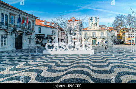 Cascais, Portugal - Dec 22, 2018: Main Square of Cascais Town Hall decorated with Christmas decorations - Stock Image