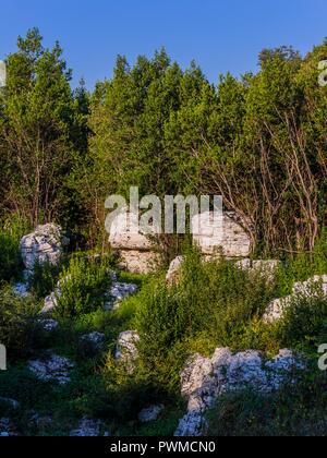 Mushroom-shaped stone small buildings Krsan in Istria in Croatia - Stock Image