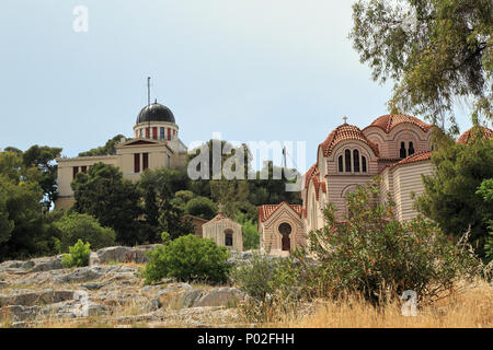 National Observatory of Athens (L) and Saint Marina Orthodox Church (R) - Stock Image