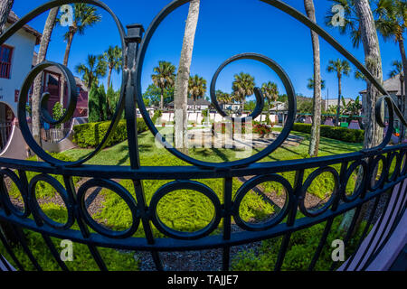Garden on historic St George Street in downtown St Augustine Florida Americas oldest city - Stock Image