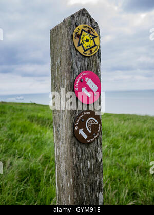 Sign Post at Langdon Cliffs, Dover, England - Stock Image