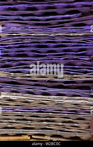 A pile of egg storage paper tray in close up abstract art of line pattern and texture - Stock Image
