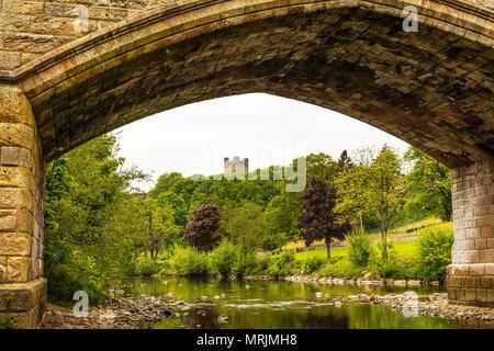Richmond Castle Yorkshire, Richmond Castle in Richmond, North Yorkshire, Ancient, Arch, Architecture, British, River Swale, Yorkshire dales, Richmond - Stock Image