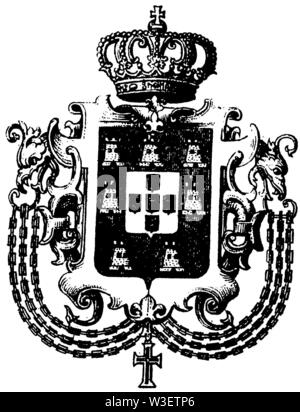 Coat of arms of Portugal, ,  (cultural history book, 1875) - Stock Image