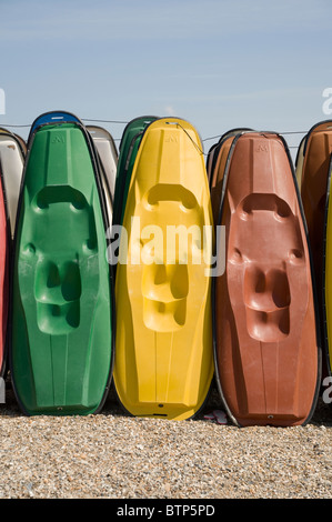 Kayaks on Weymouth Beach, Dorset, UK. - Stock Image
