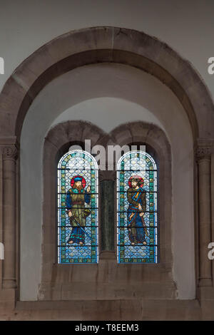 Pre-Raphaelite stained glass depicting Levi and Judah, son's of Jacob and Leah St Catherine church Hoarwithy Herefordshire England UK. February 2019. - Stock Image