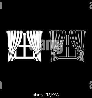 Curtains and window Interior concept Home window view decoration Waving curtains on window icon outline set white color vector illustration flat - Stock Image