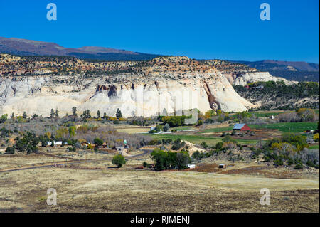 Seen from the Hogback Overlook on Highway 12, the farming community of Boulder, Utah, USA. - Stock Image