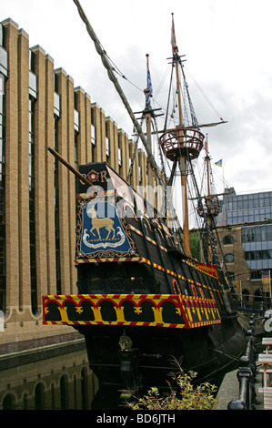Replica of the Golden Hind, Southbank, River Thames, London, UK - Stock Image