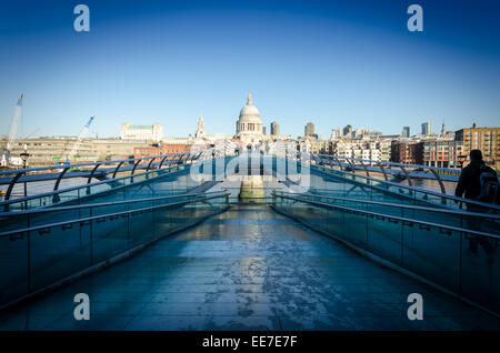 View of St Paul's Cathedral from the south bank side of Millennium Bridge. London, UK - Stock Image