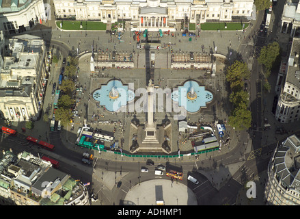 Aerial view of Trafalgar Square in London featuring Nelson's Column and the fountains - Stock Image