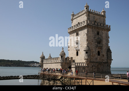 Belem Tower which stands on the banks of the River Tagus, Belem, Lisbon, Portugal - Stock Image