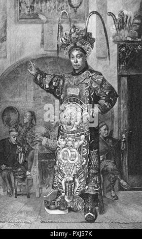 A Chinese actor makes his entrance.       Date: 1885 - Stock Image