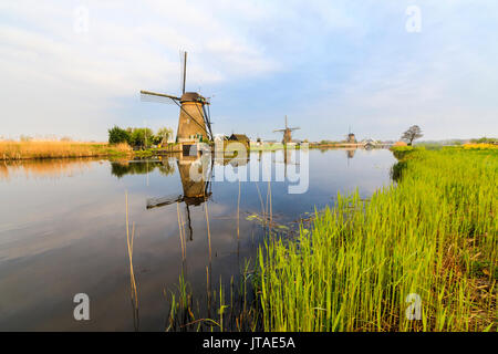 Dawn on windmills reflected in the canal surrounded by green meadows, Kinderdijk, UNESCO, Molenwaard, South Holland, Netherlands - Stock Image