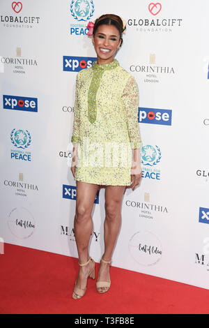 London, UK. 08th Apr, 2019. LONDON, UK. April 08, 2019: Melody Thornton arriving for the Football for Peace initiative dinner by Global Gift Foundation at the Corinthia Hotel, London. Picture: Steve Vas/Featureflash Credit: Paul Smith/Alamy Live News - Stock Image