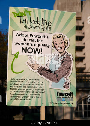 London, UK. 19th November 2011. Fawcett Society members and supporters marching and campaigning today to tell David - Stock Image