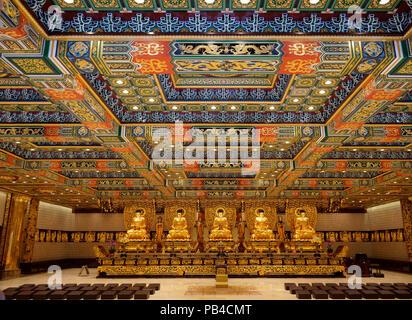 Main interior hall of the Po Lin Buddhist Monastery on located on Ngong Ping Plateau,  Lantau Island, Hong Kong China - Stock Image