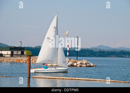 The start of an early evening sailing on Lake Pend Oreille, Sandpoint, Idaho, USA - Stock Image