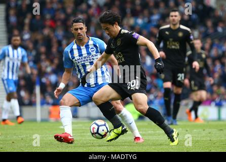 Shinji Okazaki of Leicester during the Premier League match between Brighton and Hove Albion and Leicester City at the American Express Community Stadium in Brighton and Hove. 31 Mar 2018. *** Editorial use only. No merchandising. For Football images FA and Premier League restrictions apply inc. no internet/mobile usage without FAPL license - for details contact Football Dataco *** - Stock Image