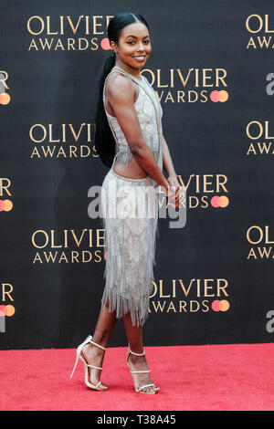 London, UK. 7th Apr 2019. Adrienne Warren poses on the red carpet at the Olivier Awards on Sunday 7 April 2019 at Royal Albert Hall, London. Picture by Credit: Julie Edwards/Alamy Live News - Stock Image