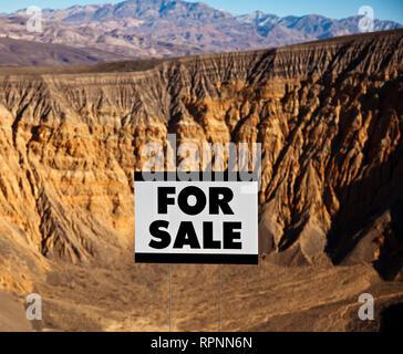 For Sale Sign in Desert Landscape - Stock Image