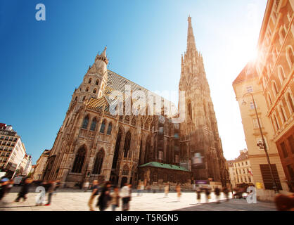 View to St. Stephen's Cathedral in Vienna, Austria - Stock Image