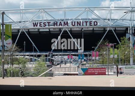 West Ham United signage on the London Stadium, Olympic Park, Stratford East London - Stock Image