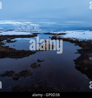 Winter shoreline, Vestvågøy, Lofoten Islands, Norway - Stock Image