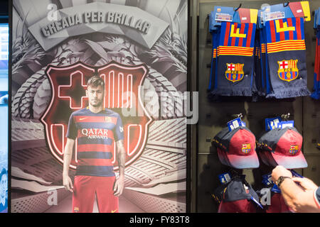 Inside the boutique store of FC Barcelona outside Camp Nou stadium Barcelona Official Store Megastore - Stock Image