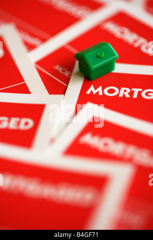 Monopoly board game property mortgage - Stock Image