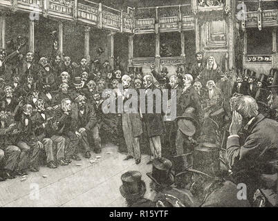 A narrow vote in the House of Commons, reform bill of 1866 - Stock Image
