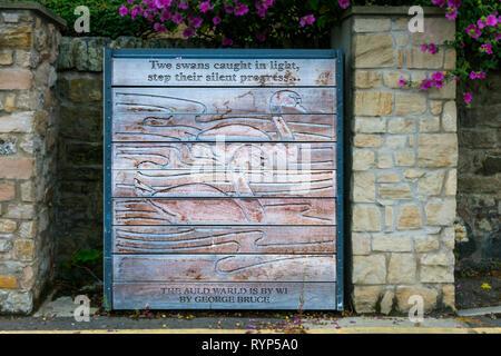 Decorated flood gate, Water of Leith flood prevention scheme, Edinburgh, Scotland, UK - Stock Image