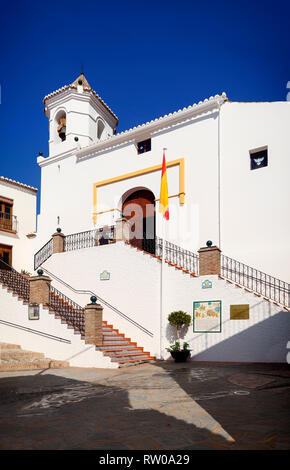 The Iglesia de Santa Catalina is a 16th-century Mudejar structure in the main street in Sayalonga, Province of Málaga, Andalusia, Spain. - Stock Image