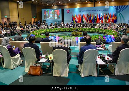 Secretary Michael R. Pompeo participates at the ASEAN Regional Forum Retreat in Singapore, Singapore, August 4, 2018. - Stock Image