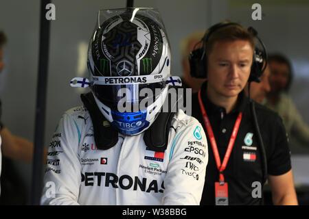 Silverstone Circuit. Northampton, UK. 13th July, 2019. FIA Formula 1 Grand Prix of Britain, Qualification Day; Mercedes AMG Petronas Motorsport, Valtteri Bottas takes pole Credit: Action Plus Sports/Alamy Live News - Stock Image