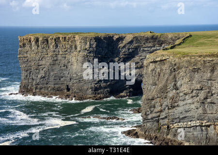Aerial birds eye view Loop Head Peninsula landscape, along the wild Atlantic way in West Clare Ireland. peaceful roads and deserted beaches stretches. - Stock Image