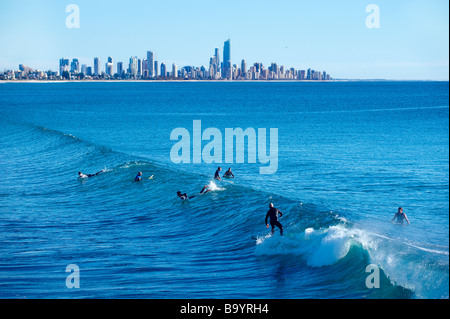 Surfing on the Gold Coast - Stock Image