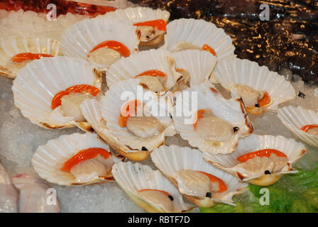 Oysters with lemon on ice - Stock Image