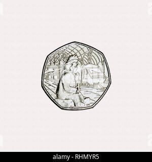 Limited edition British 50p piece coin commemorating the character Paddington Bear with  him in paddington station with a train in background - Stock Image