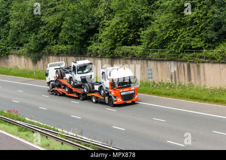 Netherlands registered, De Rooy branded, small truck transporter travelling on the M61 motorway near Farnworth, UK. - Stock Image