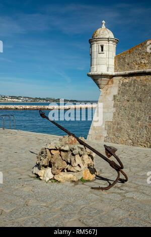 The Forte da Ponta da Bandeira Lagos Portugal Guarding The Harbour - Stock Image